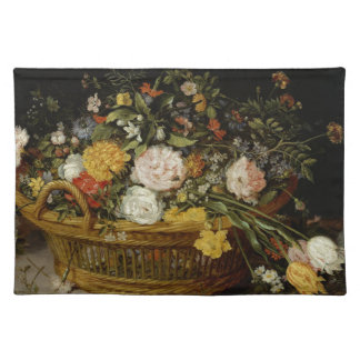 A Basket of Flowers - Jan Brueghel the Younger Cloth Placemat