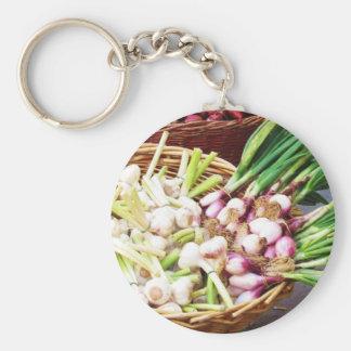 A basket of GARLIC - Naples, Italy Basic Round Button Keychain