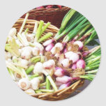 A basket of GARLIC - Naples, Italy Classic Round Sticker
