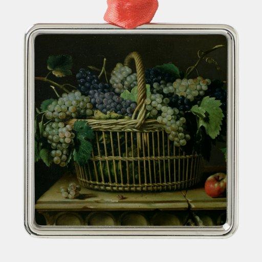 A Basket of Grapes Metal Ornament