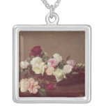 A Basket of Roses, 1890 Square Pendant Necklace