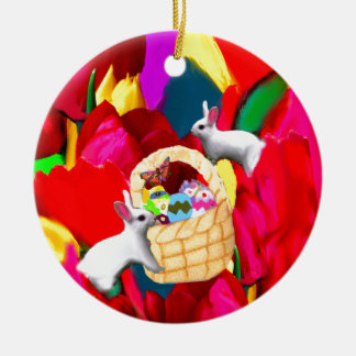 A basket plenty of amazing eggs celebrates season ceramic ornament