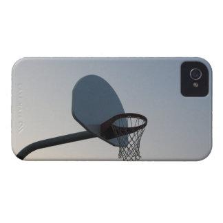 A basketball backboard hoop and net. Clear blue iPhone 4 Case-Mate Case