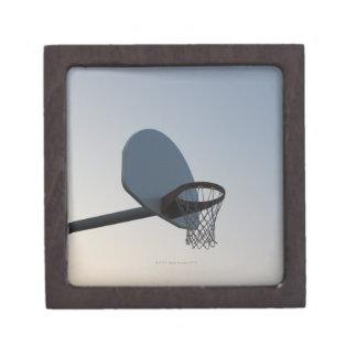 A basketball backboard hoop and net. Clear blue Keepsake Box