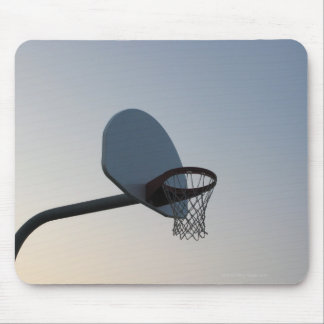 A basketball backboard hoop and net. Clear blue Mouse Pad