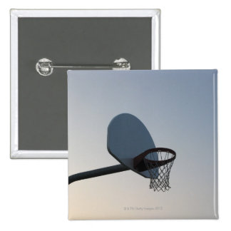 A basketball backboard hoop and net. Clear blue Pinback Button