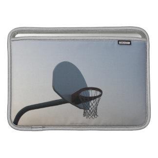 A basketball backboard hoop and net. Clear blue Sleeve For MacBook Air