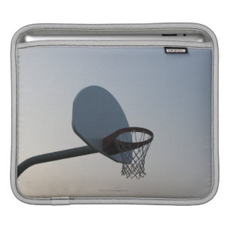 A basketball backboard hoop and net. Clear blue Sleeves For iPads