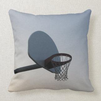 A basketball backboard hoop and net. Clear blue Throw Pillow