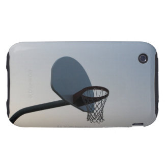 A basketball backboard hoop and net. Clear blue Tough iPhone 3 Cover