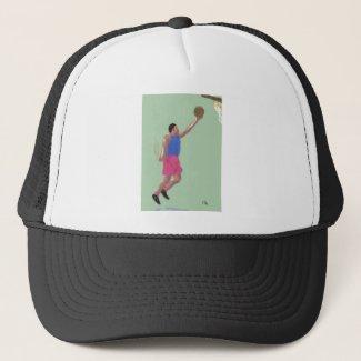 A Basketball Figure Art Trucker Hat