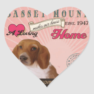 A Basset Hound Makes Our House Home Heart Sticker