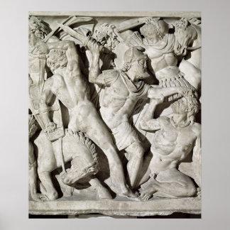 A battle between Romans and Galatians Print