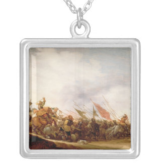 A Battle Scene, 1653 Silver Plated Necklace