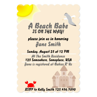 A Beach Babe Is On The Way! 5x7 Paper Invitation Card