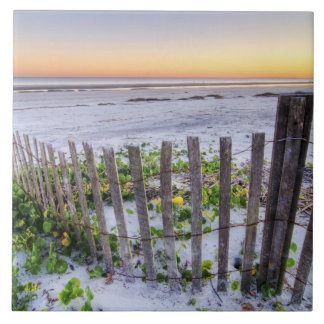 A Beach Fence at Sunset Ceramic Tile