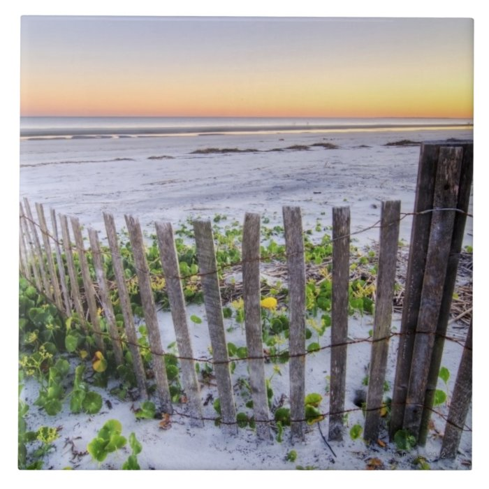 A Beach Fence at Sunset Ceramic Tile