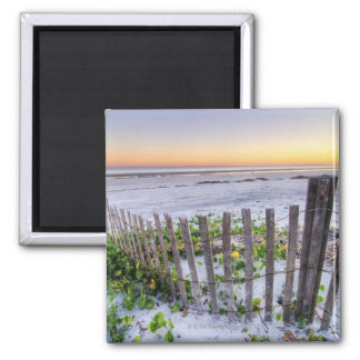 A Beach Fence at Sunset Magnet