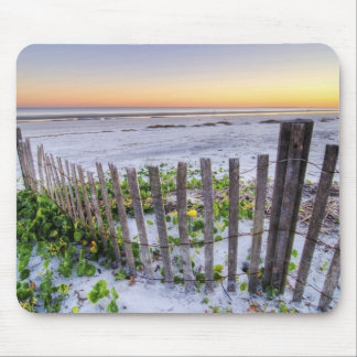 A Beach Fence at Sunset Mouse Pad