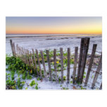 A Beach Fence at Sunset Postcard