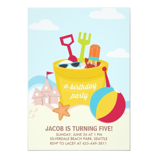 a beach party kid s birthday party invitation zazzle com