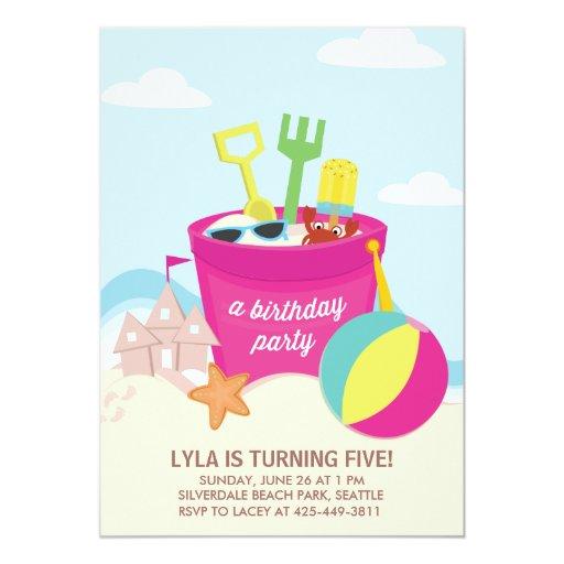 A Beach Party Kid's birthday Party invitation