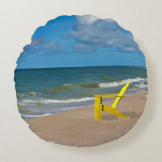 A Beach Somewhere and Beach Chair Round Pillow