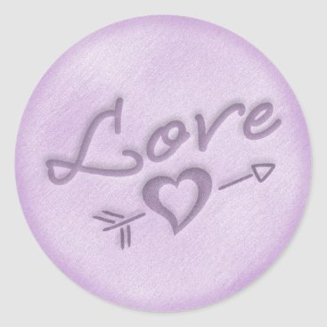 Beach Themed A Beach Wedding Love Heart Sticker (Purple)