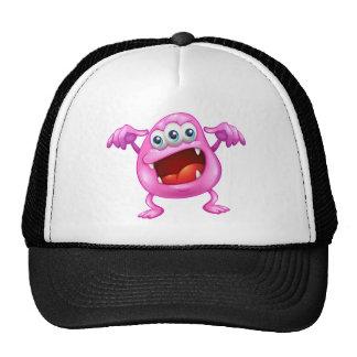 A beanie monster in horror trucker hat
