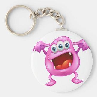 A beanie monster in horror basic round button keychain