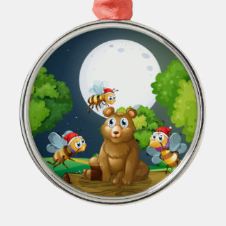 A bear above the log surrounded with Santa bees Metal Ornament