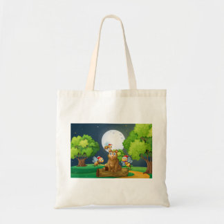 A bear above the log surrounded with Santa bees Tote Bag