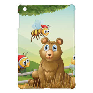 A bear at the forest with three Santa bees Case For The iPad Mini