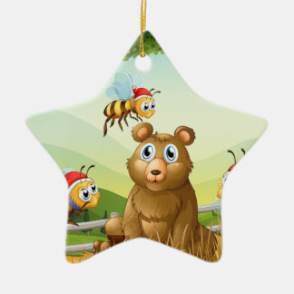 A bear at the forest with three Santa bees Ceramic Ornament