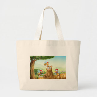 A bear at the forest with three Santa bees Large Tote Bag
