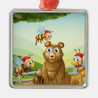 A bear at the forest with three Santa bees Metal Ornament
