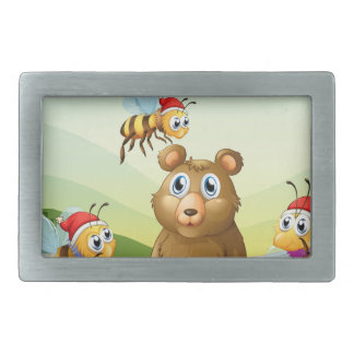 A bear at the forest with three Santa bees Rectangular Belt Buckle