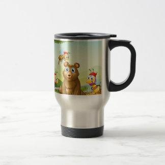A bear at the forest with three Santa bees Travel Mug