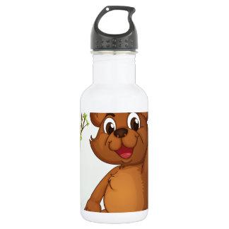 A bear sitting on a wood 18oz water bottle