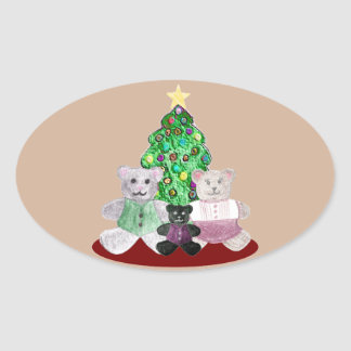 A Beary Merry Christmas Collage Oval Sticker