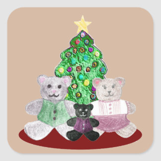 A Beary Merry Christmas Collage Square Sticker