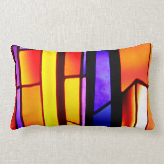 A beautiful abstract in yellow and orange tones lumbar pillow