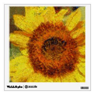 A beautiful abstract sunflower wall decal
