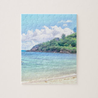A beautiful beach in the Seychelles Jigsaw Puzzle