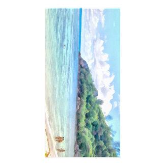 A beautiful beach in the Seychelles Photo Card