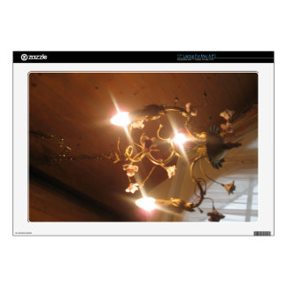 A beautiful chandelier inside a hotel room decal for laptop