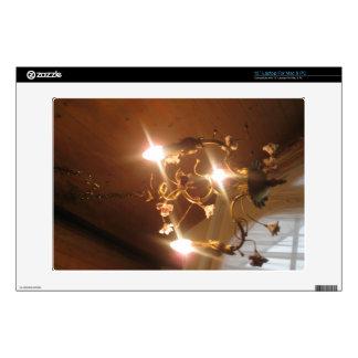 A beautiful chandelier inside a hotel room skin for laptop
