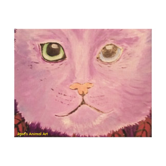 A beautiful colourful picture of a cat on a canvas