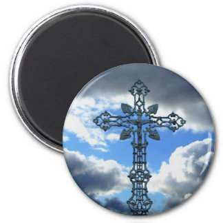 A beautiful cross 2 inch round magnet