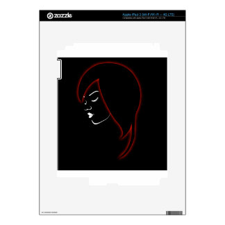 A beautiful girl in a red glowing hair decal for iPad 3